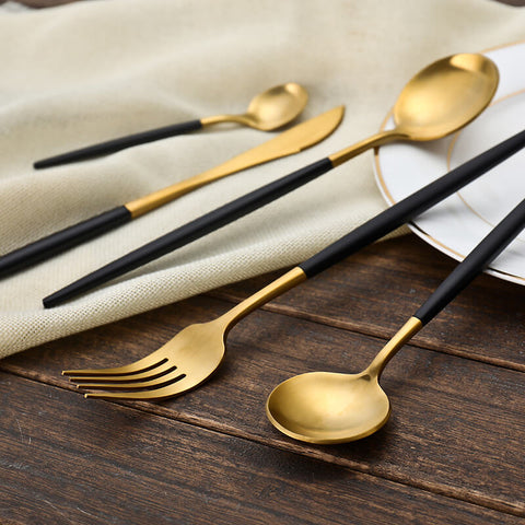 Gold Cutlery with Black Handle, Set of 24 - The Cooking Foodie Shop