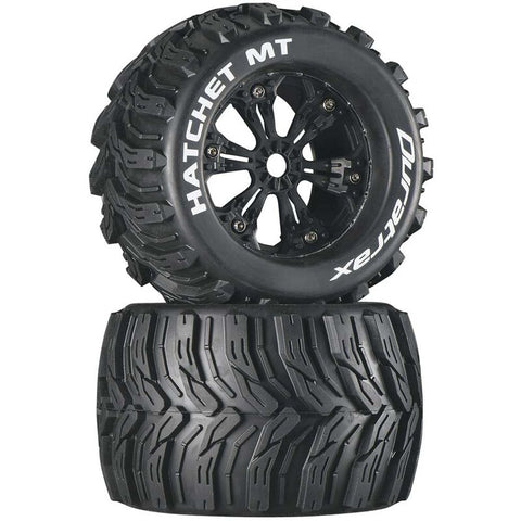 "DuraTrax Hatchet MT 3.8"" Mounted Tires, Black (2)"