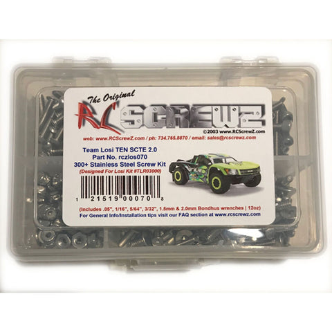 RC Screwz Stainless Steel Screw Set: Losi TEN-SCTE 2.0