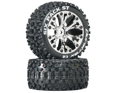 "DuraTrax Six Pack ST 2.8"" 2WD Mounted Rear C2 Tires, Chrome (2)"