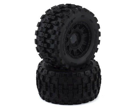 "Pro-Line Badlands MX38 HP Belted 3.8"" Pre-Mounted Truck Tires (2) (Black) (M2) w/Raid Wheels"