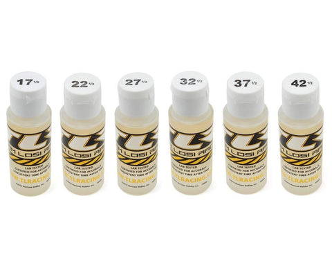 Team Losi Racing Silicone Shock Oil Six Pack (2oz) (17.5, 22.5, 27.5, 32.5, 37.5, 42.5wt)