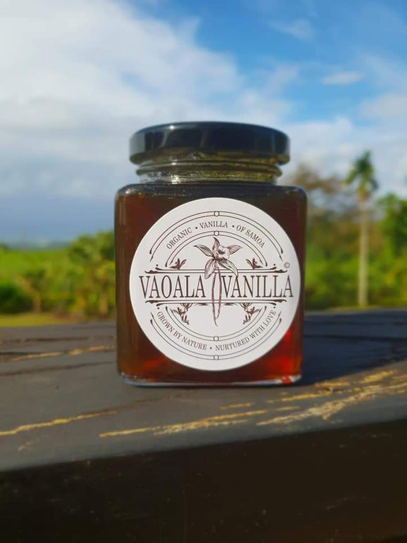 Vaoala Vanilla Syrup made with organic vanilla beans, raw unrefined cane sugar and organic lemons