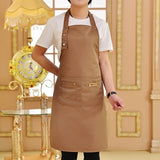 Solid Color Adjustable Bib Apron with Two Pockets - ideal for Kitchen & BBQ Chefs