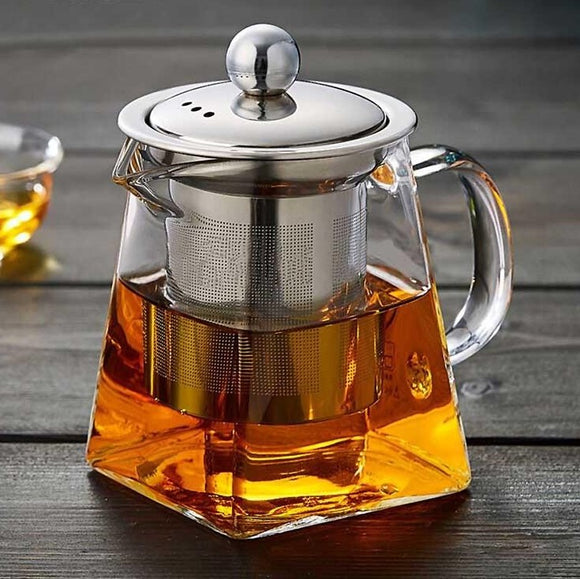 Heat Resistant Glass Teapot With Stainless Steel Tea Infuser Filter