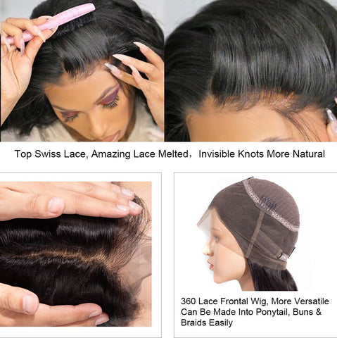 360 Lace Frontal Wigs Pre Plucked Kinky Straight