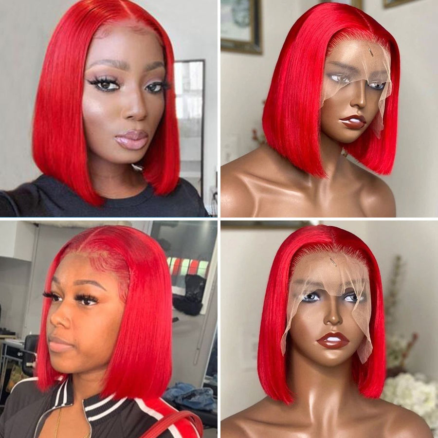 13×6-Lace-Frontal-Bob-Wigs-Red -Straight