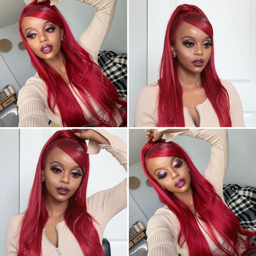 Red 13×6 Lace Front Wig Straight