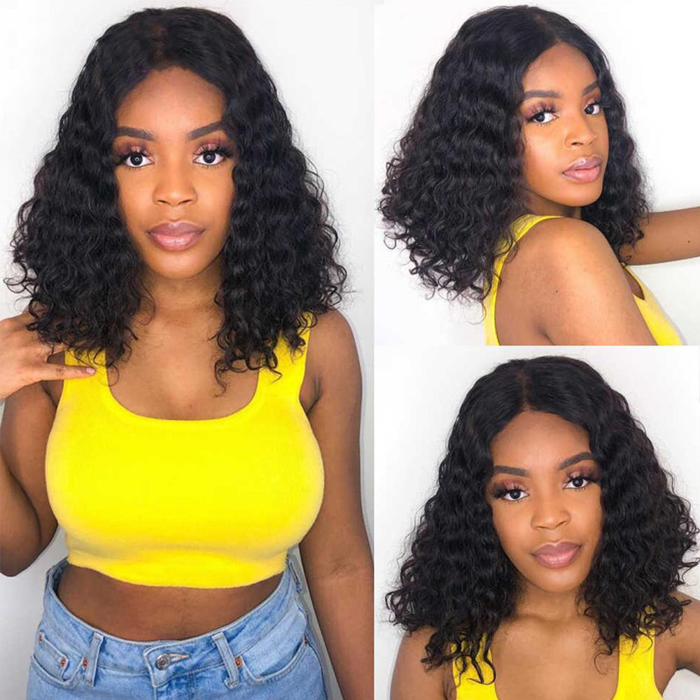 Short Wig Water Wave 13×4 Lace Front Wigs 180% Density Bob Wig