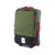 3/4 front product shot of Topo Designs Travel Bag Roller 35L carry-on suitcase in Olive green