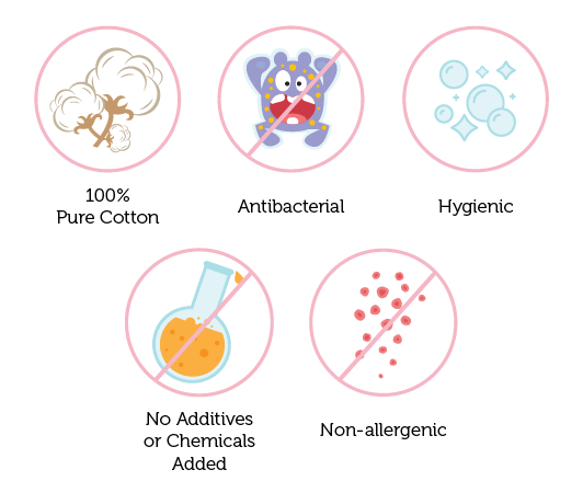 Suzuran Baby products are made of pure cotton, antibacterial, non-allergenic, sterilized at high temperature, hygienically packed and no additives or chemical added.