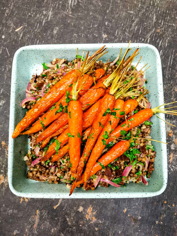 Roasted Carrots, Green Lentils & Very Good Bacon