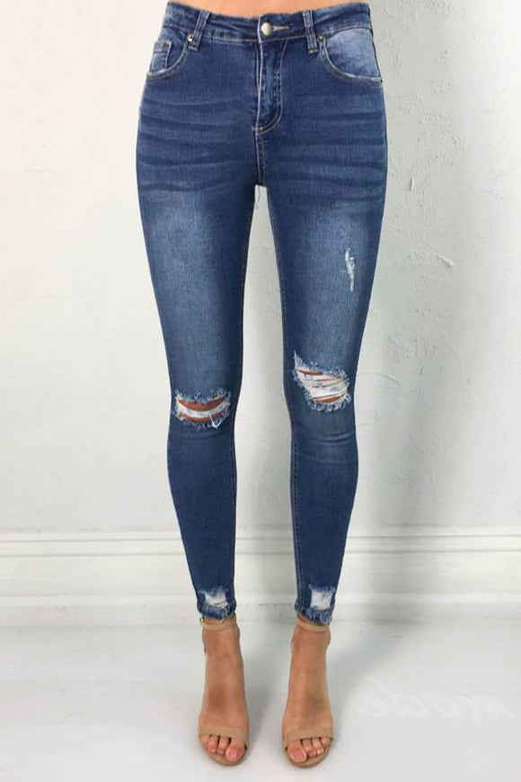 Ted Rip Skinny Jeans Wash Blue