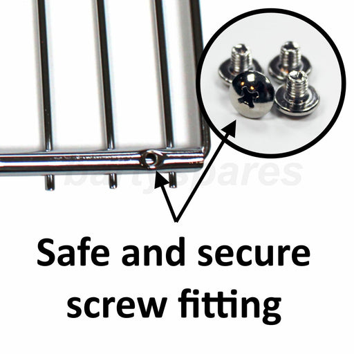 2 x UNIVERSAL Adjustable Screw Secured Oven Cooker Shelf Grills 350mm To 610mm - bartyspares
