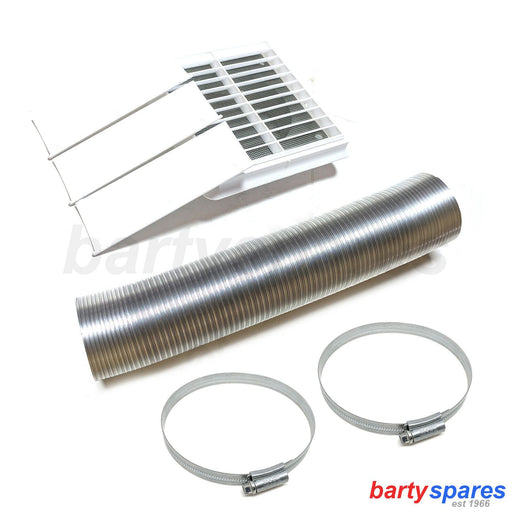 Universal Tumble Dryer 3M Stainless Steel Metal External Vent Hose & Cover Flap - bartyspares
