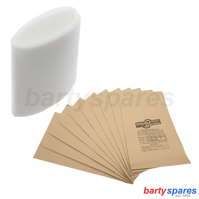 10 x Filter Vacuum Bags & Foam Filter Fits EARLEX WD1000 Hoover Dust Bags - bartyspares