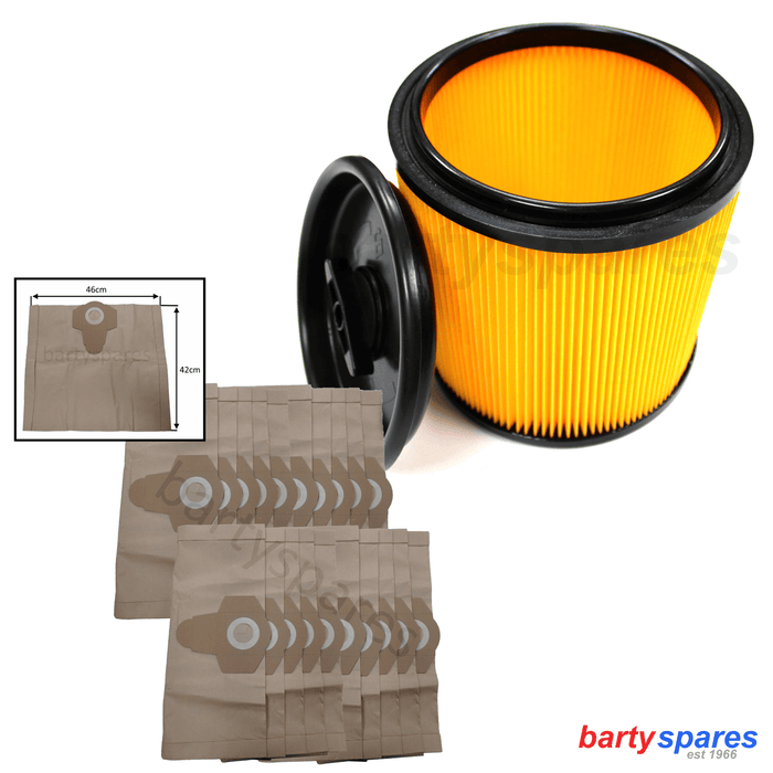 20 x Bags & Filter for Vacmaster 20-60L Wet and Dry Vacuum Cleaner hoover 950133 - bartyspares