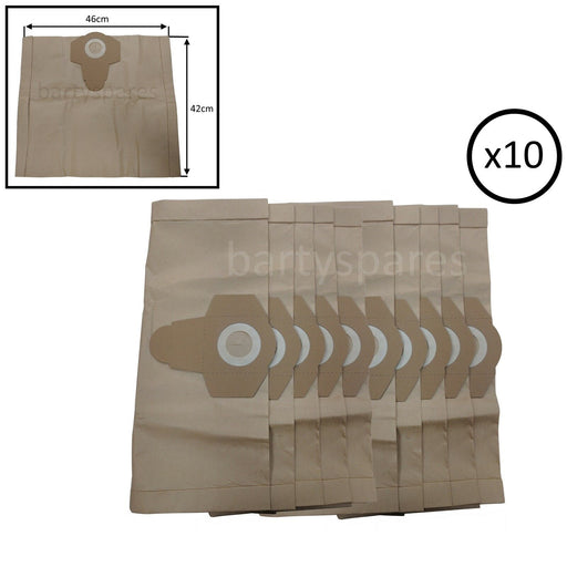 10 x DUST BAGS for ERBAUER SCREWFIX B&Q ERB062VAC 20L WET & DRY VACUUM CLEANER - bartyspares