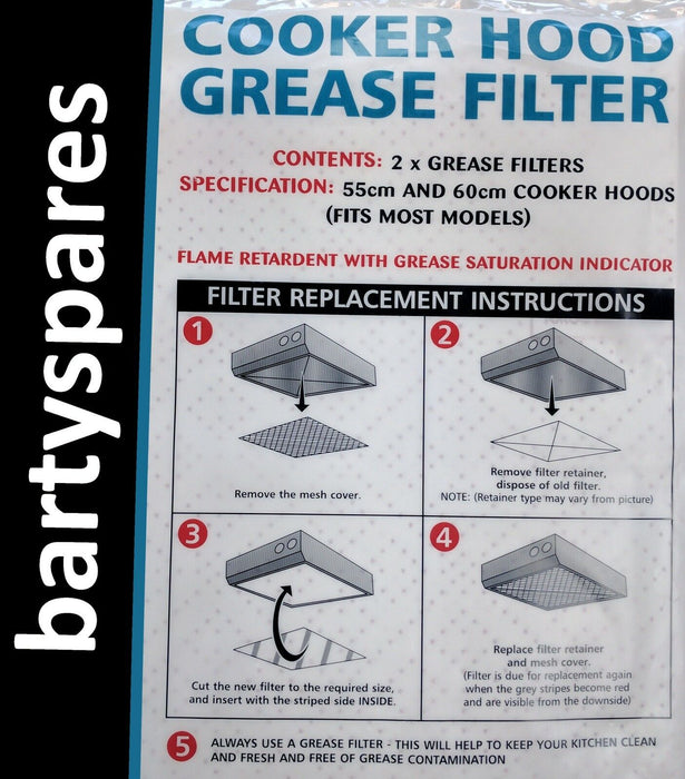 2 x Cooker Hood Grease Filters with Saturation Indicator for CANNON - bartyspares