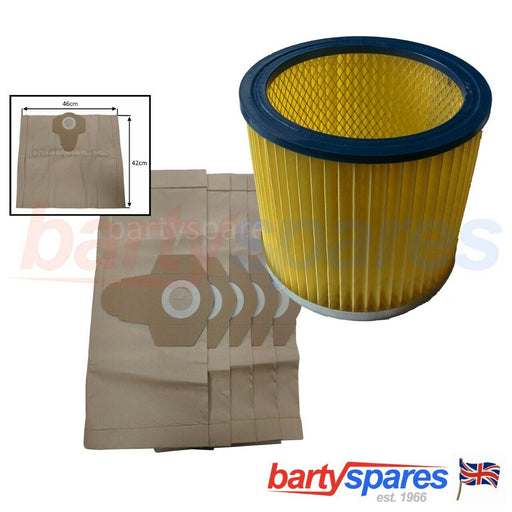 Dust Bags & Filter For Titan Screwfix TTB351VAC ,TTB350 Wet & Dry Vacuum Cleaner - bartyspares