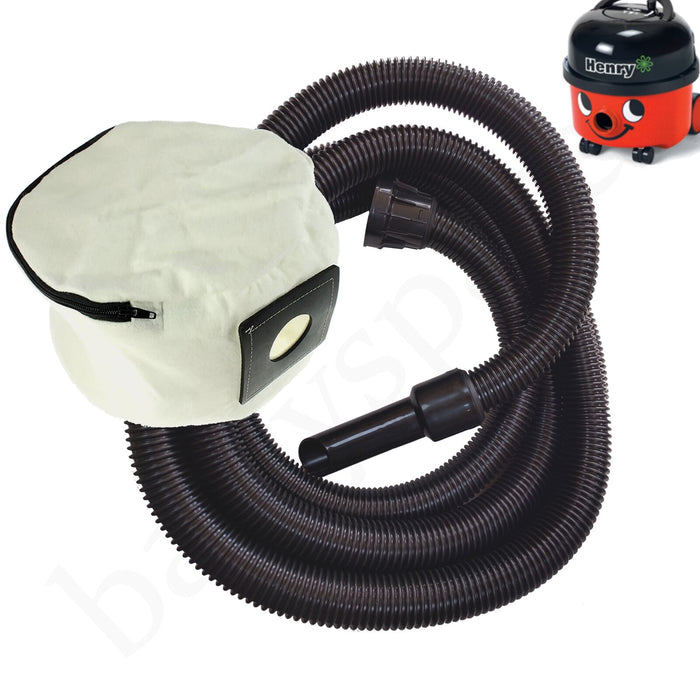 Hose & Reusable Dust Bag For Henry Numatic Vacuum Extra Long Four Metres 4m - bartyspares