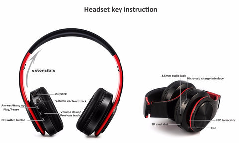 SG HiFi Headphone with Mic in black red
