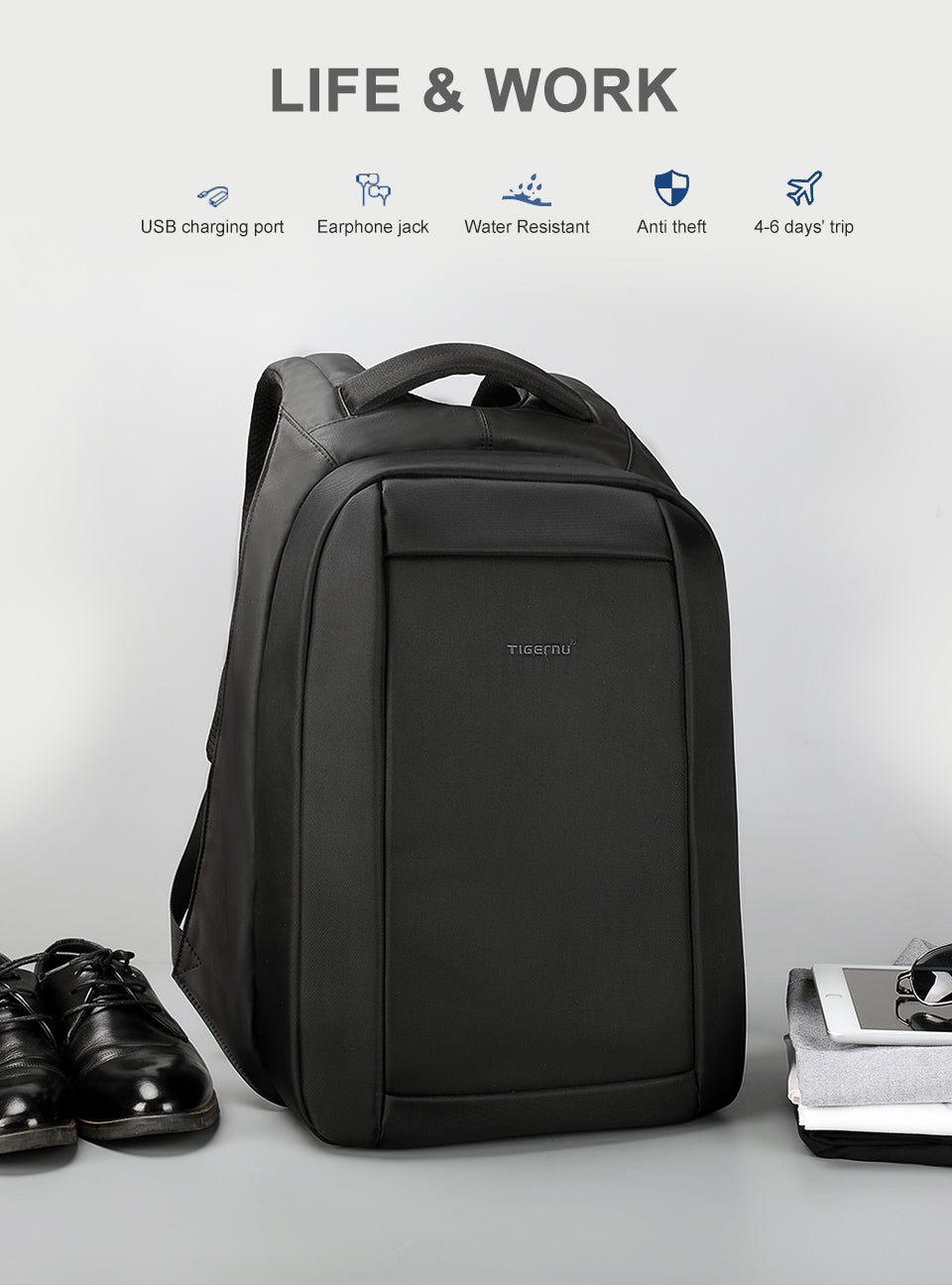 Anti-Theft USB charger backpack