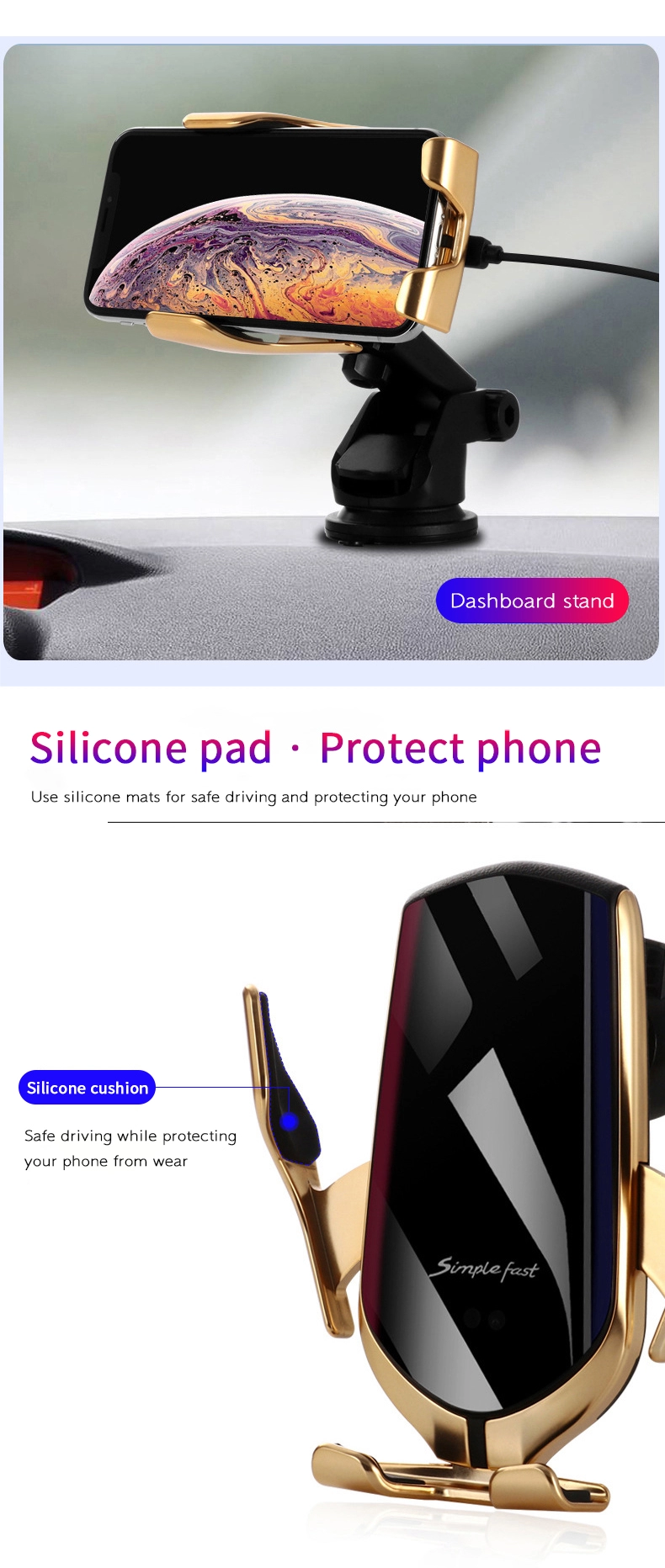 Silicone Pad Of Car Charger Holder | Smart Gadget
