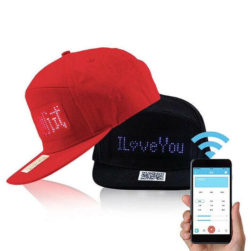 LED Red & Black Bluetooth Hat