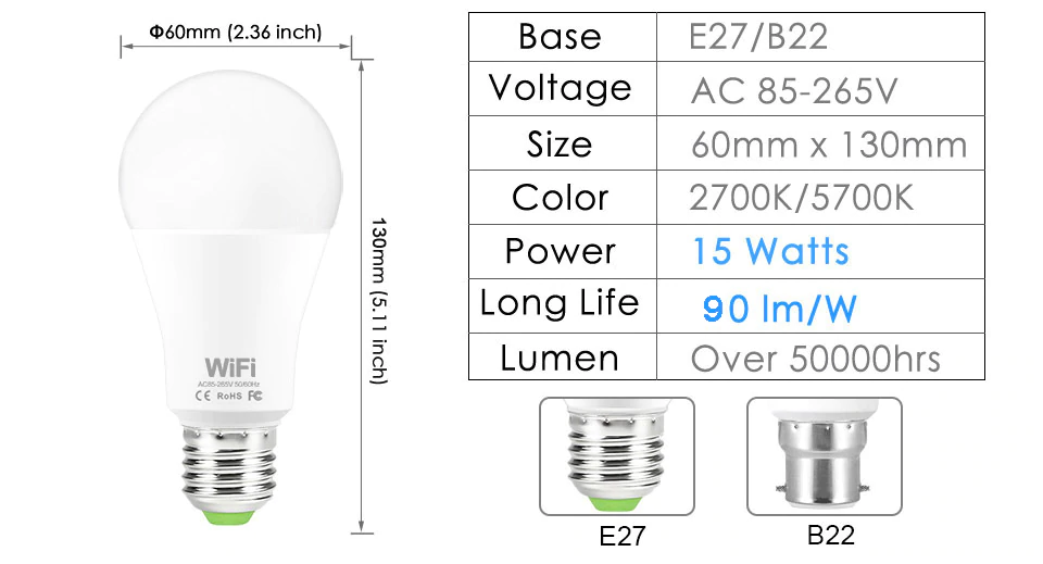 Specification Of Smart Light Bulb | Smart Gadget