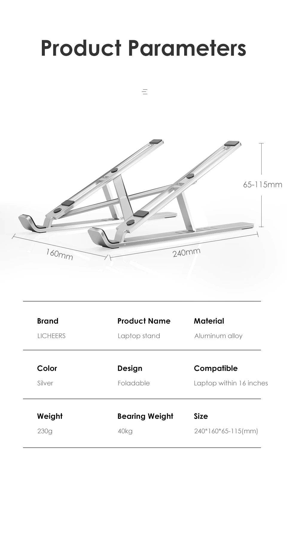 Parameteres Of Laptop Stand