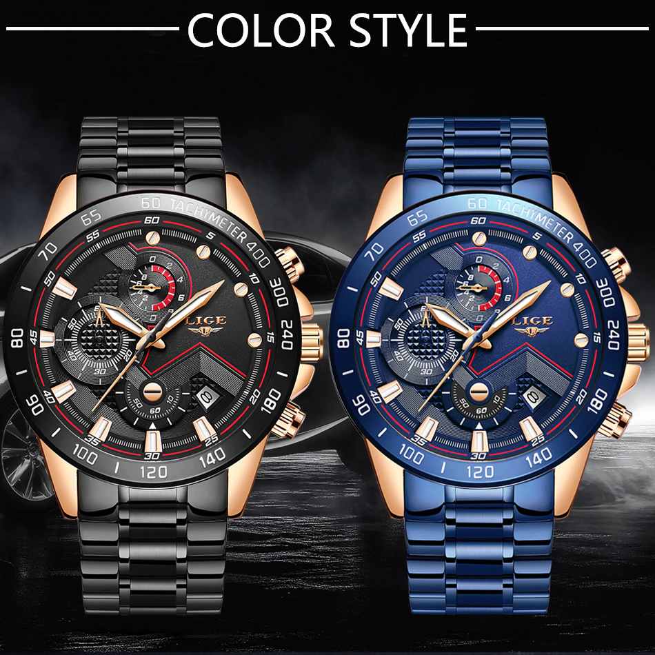 Men Watches Blue and black Stainless Steel – Smart Gadget Australia