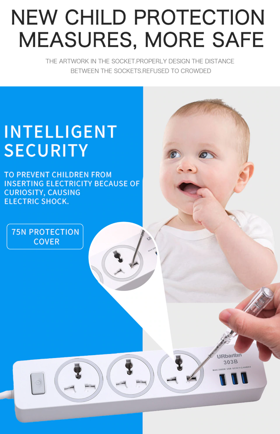 Child Protection Measures Of Power Strip Socket