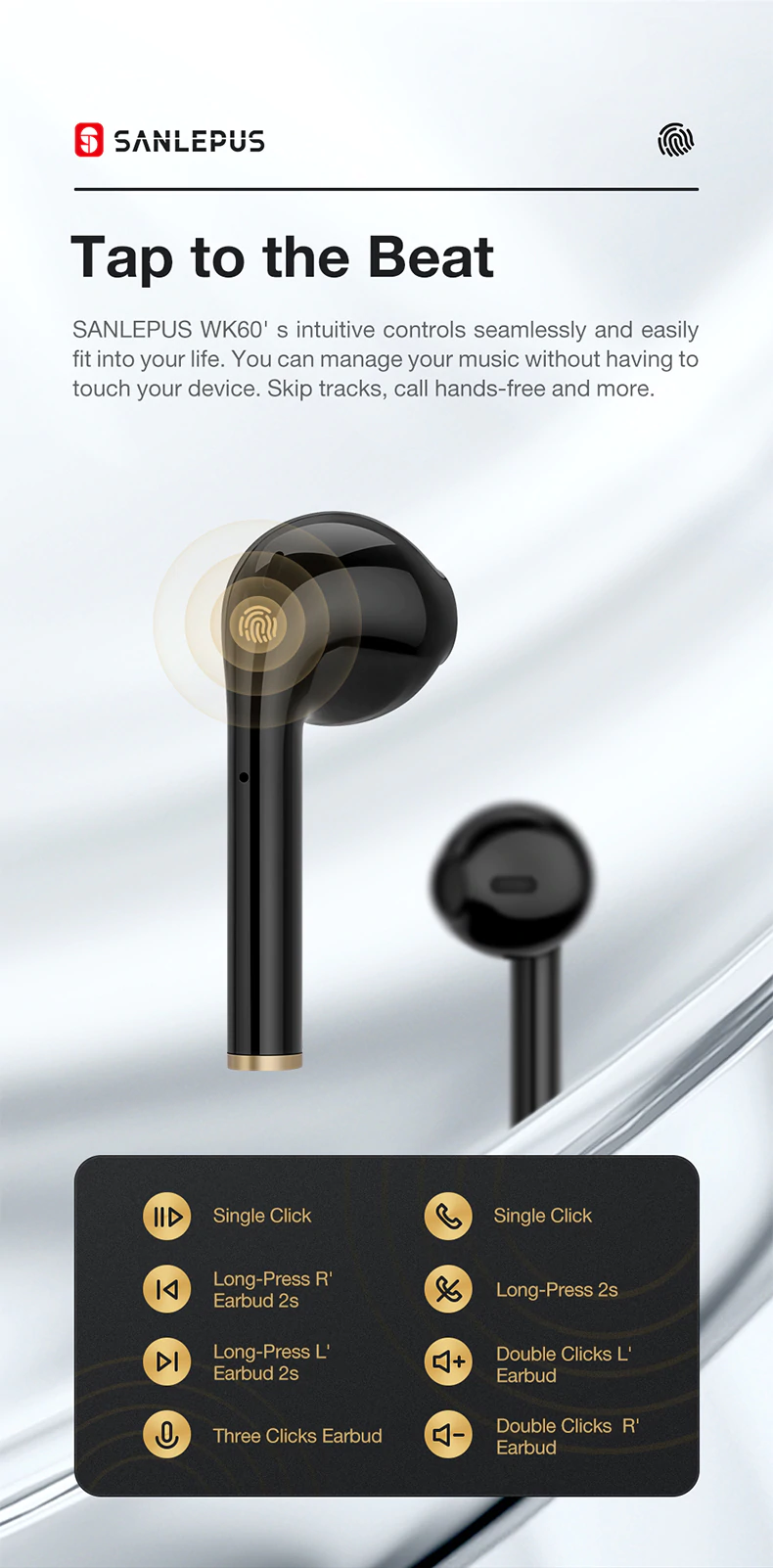 Tap The Beat Fuctionality Of Stereo Earbuds