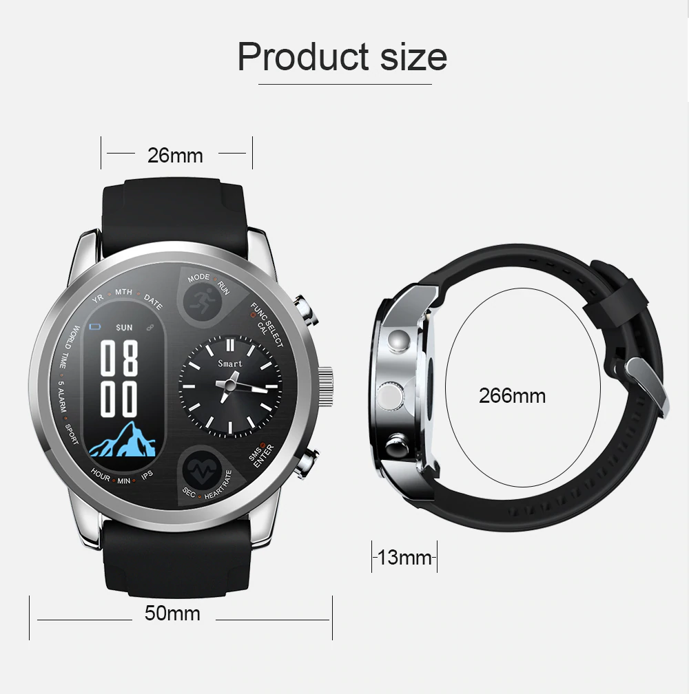 Size Of Dual Display Smart Watch