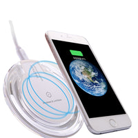 SG Wireless Mobile Charger Universal Qi Clear Ultra-Slim and Round Fast Charging Pad/Station Compatible for All Qi-Enabled Devices