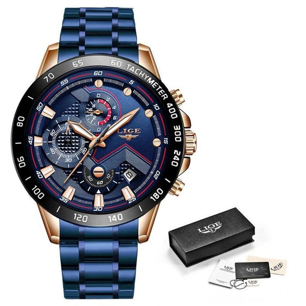 Men Stainless Steel Blue & Gold Watch
