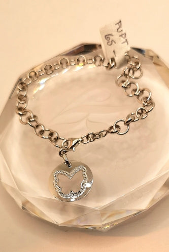 Sterling silver with rhodium finish chain bracelet with butterfly charm.
