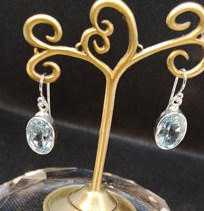 sterling silver earring with cut blue topaz