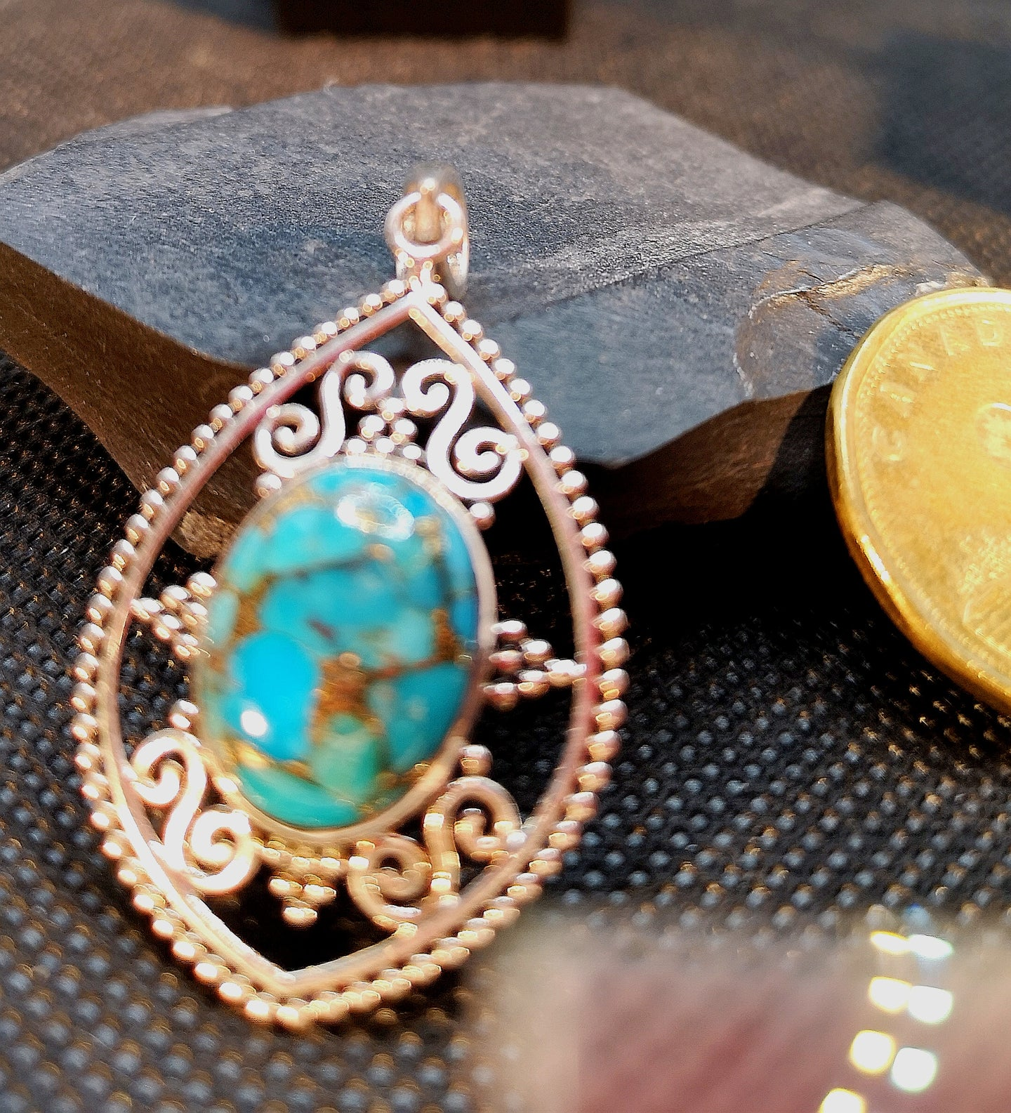 Genuine turquoise pendant in sterling silver