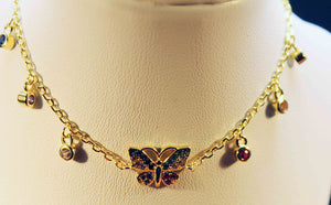 Gold plated siver with colored cubic butterfly and hanging charms bracelet