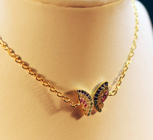 Sterling silver bracelet with gold plate and butterfly micro-set with colored cubic