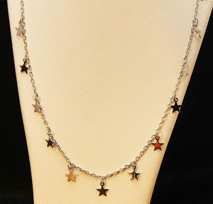 Sterling silver with rhodium finish star charms necklace
