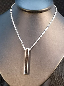 Sterling silver with rhodium finish bar necklace