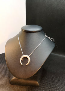 Crescent moon with cubic necklace in sterling silver with rhodium finish