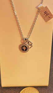 Sterling silver with rhodium finish delicate necklace with cross, shamrock and cubic