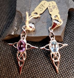 Celtic cross pendant in sterling silver with amethyst or blue topaz