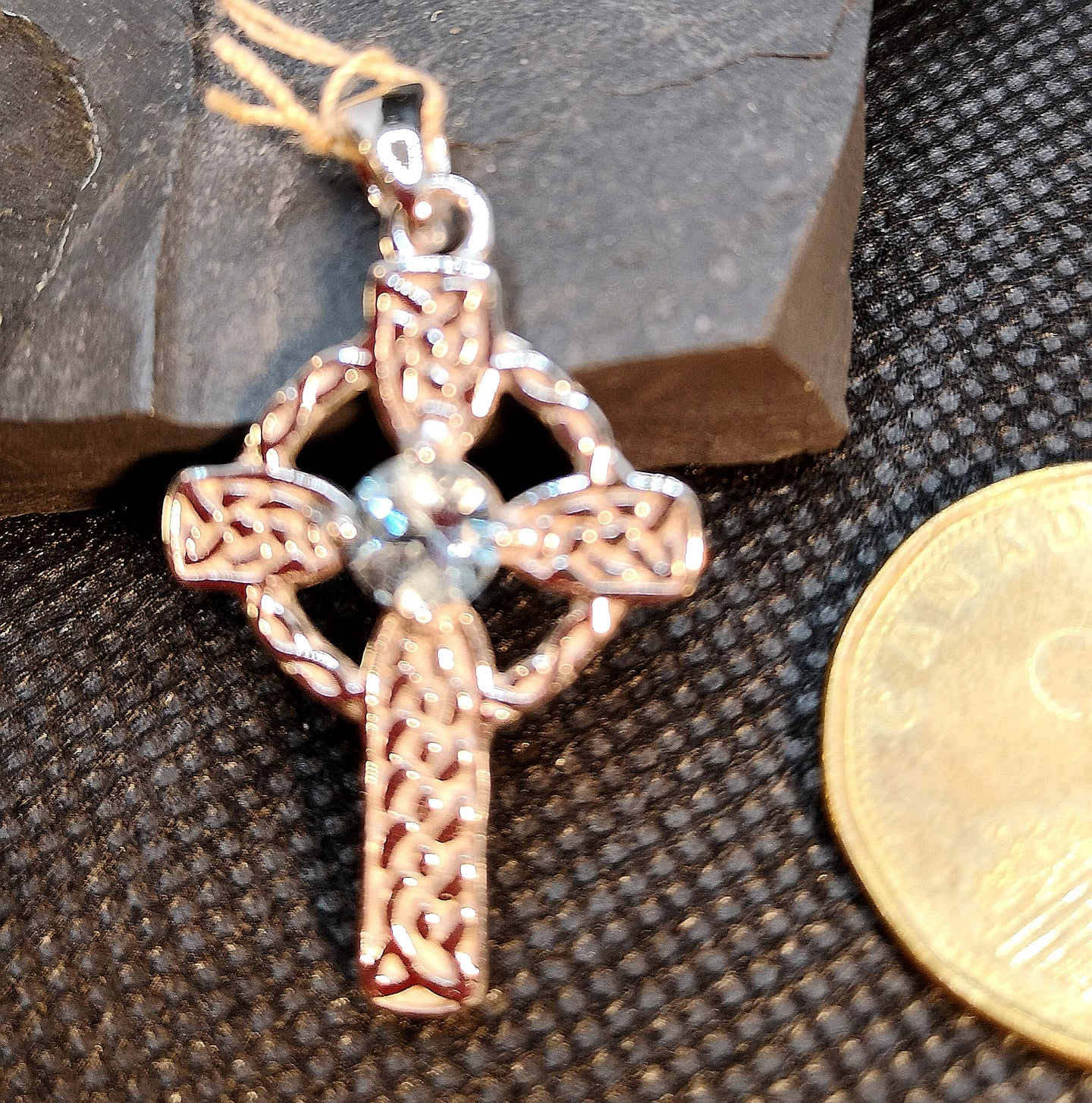 Celtic cross pendant with blue topaz in sterling silver