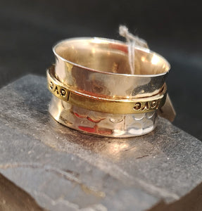 Meditation/Spin ring in sterling silver with brass ring engraved with the word, love