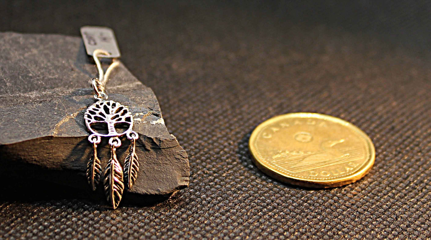 small tree of life dream catcher pendant in sterling silver